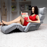 Single Size Adjustable Lounge Chair w/ Arms in Grey