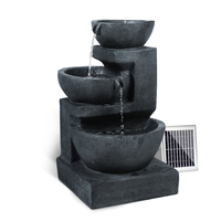 Outdoor Solar 3 Tier LED Bowl Water Fountain Blue