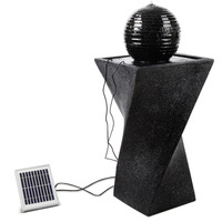 Outdoor Solar LED Twist Design Fountain in Black
