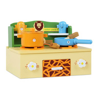 Kid's Wooden Mini Pretend Stove Top in Safari Theme