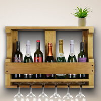 Pine Wood Mounted Wine Bottle & Glass Rack Natural