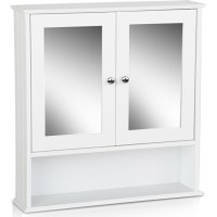 Toilet Mirror Medicine Storage Cabinet in White