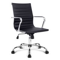 Chic Eames Replica PU Leather Office Chair in Black