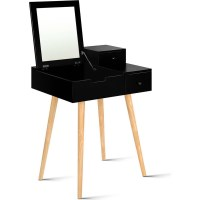 Sturdy Dressing Table with Foldaway Mirror in Black