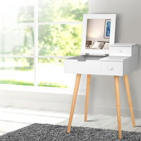 Sturdy Dressing Table with Foldaway Mirror in White