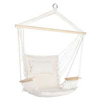 Hammock Swing Chair with Wooden Armrests in Cream