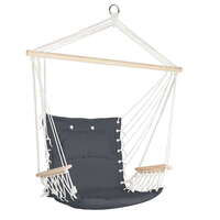 Hammock Swing Chair with Wooden Armrests in Grey