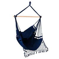 Hanging Hammock Chair with Natural Timber Rail Navy