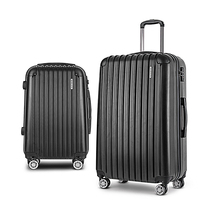 2 Piece Hard Shell Travel Luggage Set in Black