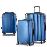 3pc Hard Shell Travel Luggage with TSA Lock in Blue