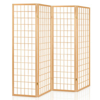 4 Panel Pine Wood Room Divider in Natural Design