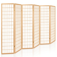 6 Panel Pine Wood Room Divider Privacy Screen 261cm