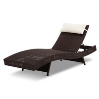 Wicker Adjustable Sun Lounger with Pillow in Brown