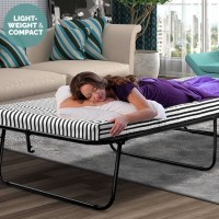 Single Folding Metal Bed Frame w Foam Mattress