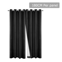 2pc 3 Layer Blockout Eyelet Curtain in Black 180cm