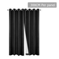 2pc 3 Layer Blockout Eyelet Curtain in Black 300cm