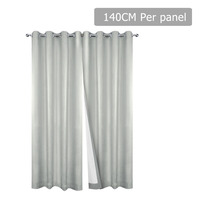 2pc 3 Layer Blockout Eyelet Curtain in Ecru 140cm