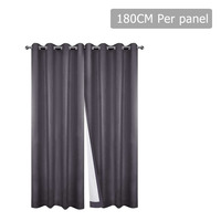 2pc 3 Layer Blockout Eyelet Curtain in Grey 180cm