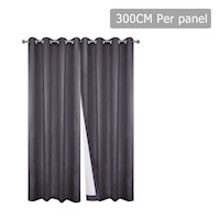 2pc 3 Layer Blockout Eyelet Curtain in Grey 300cm