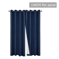 2pc 3 Layer Blockout Eyelet Curtain in Navy 140cm