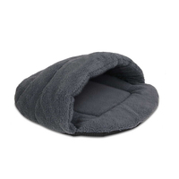 Medium Ultra-Soft Cave Style Fleece Pet Bed in Grey
