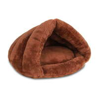 Polyester Cotton Cat & Dog Cave-Style Pet Bed Brown