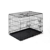 Foldable Pet Crate w/ Removable Tray in Black 30in