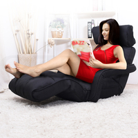 Single Size Adjustable Lounge Chair w Arms in Black