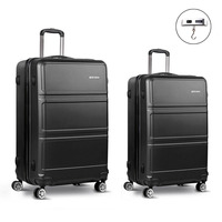 2pc Hard Shell Travel Luggage Suitcase Set in Black