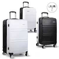 3pc Hard Shell Travel Luggage Set in Black & White