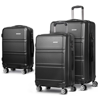 3pc Hard Shell Travel Luggage Suitcase Set in Black