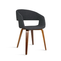 2x Modern Curved Hugging Dining Chairs in Charcoal