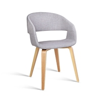 2x Plywood Curved Hugging Dining Chair Light Grey