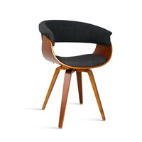 Curved Back Modern Dining Chairs in Charcoal