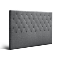 King Size Fabric Tufted Bed Headboard In Dark Grey