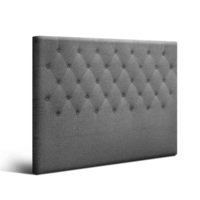 Queen Size Fabric Tufted Bed Headboard in Dark Grey