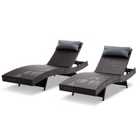 2pc Outdoor PE Wicker Sun Lounge w Pillows in Black