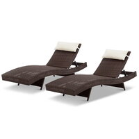 2pc Outdoor PE Wicker Sun Lounge w Pillows in Brown