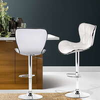 2x Grid Contour Gas Lift PU Leather Bar Stool White