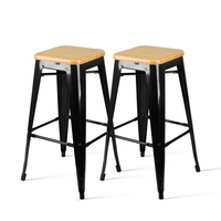 2x Replica Tolix Steel and Bamboo Bar Stools 76cm