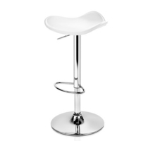 2x Moulded Gas Lift PVC Leather Bar Stools in White