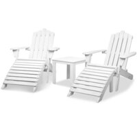 2x Fir Wood Adirondack Chair w Ottoman & Side Table