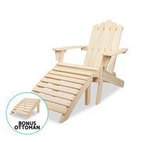 Outdoor Hemlock Wood Adirondack Chair with Ottoman