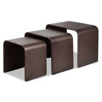 3pc Birch Plywood Bentwood Nesting Tables in Walnut