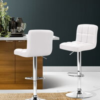 2pc Grid PU Leather & Chrome Bar Stools in White