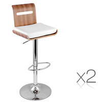 2pc Gas Lift Wooden Bar Stool w/ PU Leather Cushion