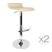 2x S-Curve Gas Lift PVC Leather Bar Stools in Beige
