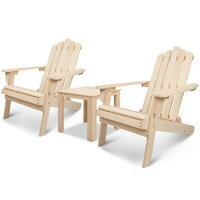 2pc Hemlock Wood Adirondack Chair with Side Table