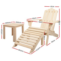 5pc Hemlock Wood Adirondack Chairs Set w Side Table