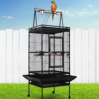 Large Iron Bird Cage with Wheels in Black 173cm